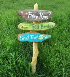 fairy garden signpost painted signs fairy ring by NatureScavenger
