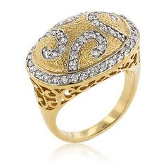 18k Gold Plated to .925 Sterling Silver Filigree Cocktail Ring with Clear Cubic Zirconia Accents in Two-Tone