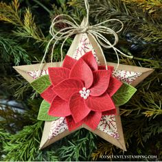 Connie's Christmas poinsettia with the Thoughtful Branches Bundle from Stampin' Up!
