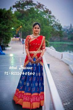 WhatsApp IkkatAdultLehenga for above body blouse height . Half Saree Designs, Lehenga Designs, Blouse Designs, Sari Dress, Blouse Dress, Work Blouse, Saree Blouse, Kalamkari Dresses, Half Saree Lehenga