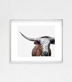 Cow Print Longhorn Print Longhorn Painting Cow Wall Art