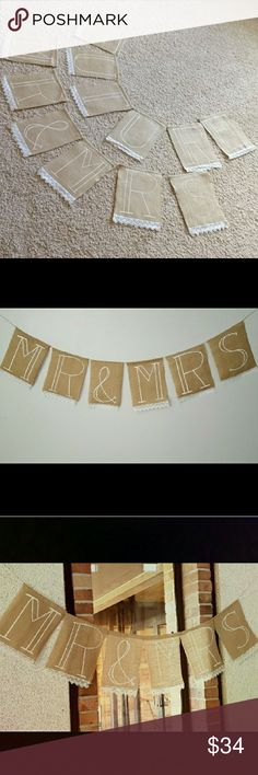 Future Mr & Mrs. burlap lace banner set wedding Perfect condition! Hand made by someone for an engagement party. Set of 2 banners with adjustable flags on strings. Lace was sewn on and letters were hand painted. Other