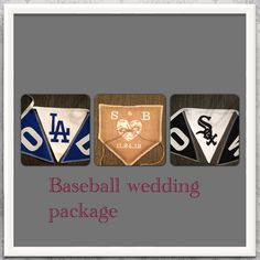 Baseball Custom handmade Wedding package made by www.etsy.com/shop/BlessedinLove Natural burlap vintage baseball personalized ring bearer pillow and fabric sports team buntings. Brides team and the grooms team.  AWESOME!!!