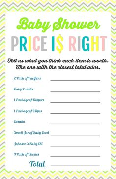 Baby Shower Price Is Right Game