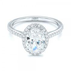 Custom Oval Diamond and Halo Engagement Ring