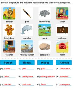 Person Place Or Thing Nouns Worksheet