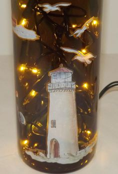 Lighthouse Recycled Wine Bottle Accent Lamp/LiteGreat by CanDezign, $19.00