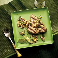 Grilled Seafood with Banana-Lime Salsa