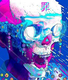 Surreal and psychedelic cyberpunk graphics Nick Sullo Arte Cyberpunk, Cyberpunk Aesthetic, Character Concept, Character Art, Concept Art, Character Design, Illustrations, Illustration Art, Pop Art