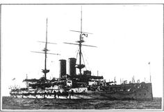 """British battleship """"Irresistible,"""" launched 1898, sunk by a mine in the Dardanelles, 1915. Image: Scientific American, April 3, 1915"""
