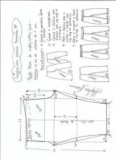 legging-sem-costura-lateral-PP. Dress Sewing Patterns, Sewing Patterns Free, Fabric Patterns, Sewing Tutorials, Clothing Patterns, Blouse Tutorial, Sewing Blouses, E 38, Patterned Leggings