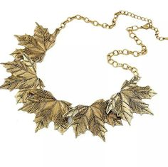 Vintage leafs fall gold necklace Vintage leaves leafs fall necklace Material: alloy Jewelry Necklaces