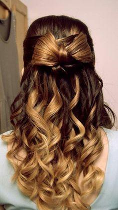 Curled bow hair.