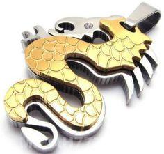 2d91f550681 Pingente Dragão com escama. Duas (2) Super Camadas em Aço Inox Maciço  (Prata e Dourado).