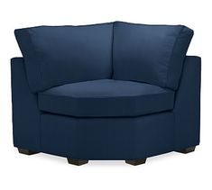 PB Square Upholstered Wedge, Polyester Wrapped Cushions, Performance Everydayvelvet(TM) Navy