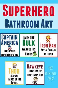 Free printable superhero bathroom art set to help your little super hero keep himself and the bathroom clean Superhero Classroom Theme, Superhero Room, Classroom Themes, Superhero Party, Superhero Ideas, Superhero School, Superhero Signs, Batman Party, School Bathroom