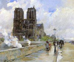 Frederick C Hassam. Notre Dame Cathedral, Paris, 1888