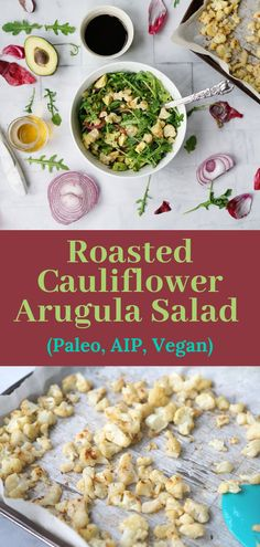 This roasted cauliflower salad is Paleo, AIP, and vegan. Cauliflower,  caramelized onions, arugula, and avocado make for an easy quick  weeknight meal. #aipdiet #aiprecipe #quickaipdinner #easyaipdinner  #easyaipsalad #aipsalad #autoimmunepaleo #vegansalad #glutenfree  #grainfree #paleorecipe #paleosalad #paleo Roasted Cauliflower Salad, Vegan Cauliflower, Side Recipes, Paleo Recipes, Gerson Therapy, Green Salad Recipes, Quick Weeknight Meals, Arugula Salad, Dessert For Dinner