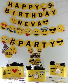 Emoji Birthday Party Package - Emoji Party Supplies - decorations - party supplies by Partyridge on Etsy https://www.etsy.com/listing/474918272/emoji-birthday-party-package-emoji-party