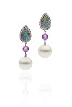 Autore Opal Earrings White Gold with Opals, Sapphires, Diamonds and South Sea pearls Opal Earrings, Drop Earrings, South Sea Pearls, South Seas, Opals, Classic Style, Sapphire, Diamonds, White Gold