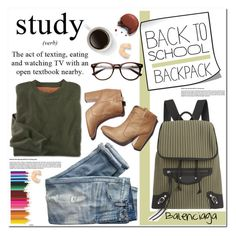"""""""Back to School: New Backpack"""" by asteroid467 ❤ liked on Polyvore featuring Balenciaga, Laurence Dacade, J.Crew, women's clothing, women's fashion, women, female, woman, misses and juniors"""