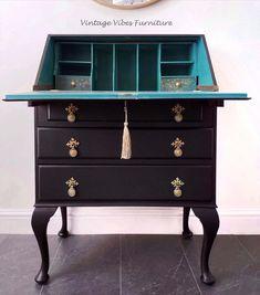Diy Furniture Renovation, Furniture Projects, Upcycled Furniture, Recycling Furniture, Furniture Makeover, Vintage Writing Desk, Writing Bureau, Painted Secretary Desks, Painted Desks
