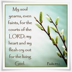 My soul yearns, even faints, for the courts of the LORD; my heart and my flesh cry out for the living God.  Psalm 84:2
