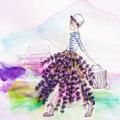 Fashion Illustrations Art Print: Lavender Lady by Meredith Wing : 1 - Flower Fashion, Fashion Art, Fine Art Prints, Framed Prints, Canvas Prints, Art Fantaisiste, Fashion Illustration Dresses, Fashion Illustrations, Design Illustrations