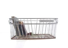 Vintage Metal Wire Crate Industrial Storage by GrayGardenDecor