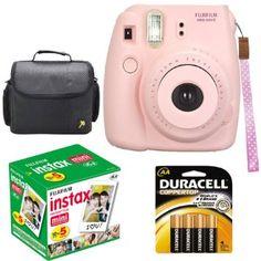 Fujifilm Instax Mini 8 Instant Film Camera (Pink) With Fujifilm Instax Mini 5 Pack Instant Film (50 Shots) + Compact Bag Case + Batteries To...