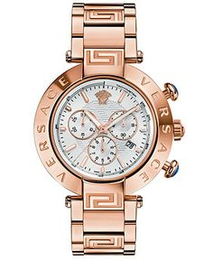 Versace Watch, Women's Swiss Chronograph Reve Rose Gold Ion-Plated Stainless Steel Bracelet 46mm VA804 0013..