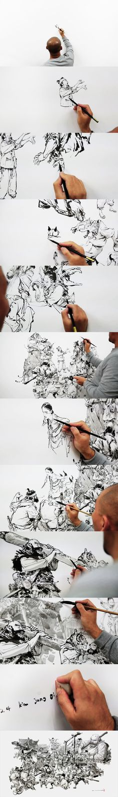 a freehand ink drawing session by Kim Jung Gi at Christie's