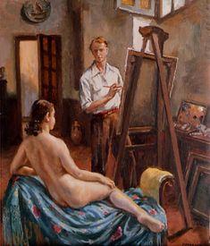 Pintor y modelo, óleo