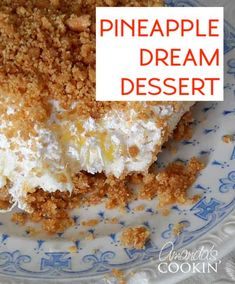 Oh my gosh, this is the BEST!! My grandma always made this and now my mom does. Guess I'll have to start making it too because it just rocks! It's called Pineapple Dream Dessert. Yum! #pineappledesserts #pineapplecreamcheesedesserts #creamcheesedesserts #pineapple #potluckdesserts #nobakedesserts #onepandesserts #summerdesserts #amandascookin Pineapple Dream Recipe, Pinapple Dessert Recipes, Pineapple Desserts, Easy Cheesecake Recipes, Homemade Cake Recipes, Baking Recipes, Cookie Recipes, Pineapple Recipes, Lemon Desserts