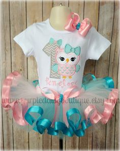 Birthday Owl with Bow Ribbon Trim Tutu by PurpleDaisyBoutique