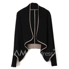 $7.46 Casual Style V-Neck Asymmertric Closure Long Sleeve Cotton Blend Short Coat For Women