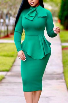 Trendy Round Neck Drape Collage Design Green Polyester Sheath Mid Calf Dress Specifications Material Polyester Style Sexy Neckline O neck Sleeve Style Cap Sleeve Sleeve Lengt Trendy Dresses, Fashion Dresses, Work Dresses, Polka Dot Bodycon Dresses, Pencil Dresses, Sheath Dresses, Daily Dress, Affordable Clothes, Daily Fashion