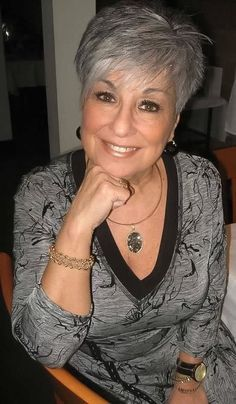 71 years old Short Grey Hair, Short Hair Cuts, Short Hair Styles, Short Pixie, Mom Hairstyles, Hairstyles Over 50, Short Gray Hairstyles, Hairstyle Short, Layered Hair