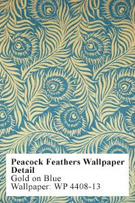Peacock feathers wallpaper, from a Scottish country house, c 1880