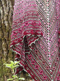 "Crochet shawl ""Summer flowers"" (crochet wrap, cotton shawl, crochet lace, filet lace)"