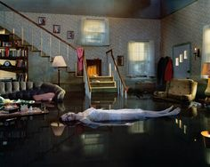 """Gregory Crewdson at work (standing on ladder) on the set of """"Untitled (Ophelia)."""" A scene from Gregory Crewdson: Brief Encounters, playing through November 13 at Film Forum. Diane Arbus, Narrative Photography, Cinematic Photography, Art Photography, Amazing Photography, Photography Magazine, Artistic Photography, Editorial Photography, Photography School"""