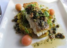 The Stanneylands Hotel, #Wilmslow. Pan-seared supreme of #cod with brown shrimp and caper butter, and saffron potatoes, at The Stanneylands Hotel, Wilmslow.