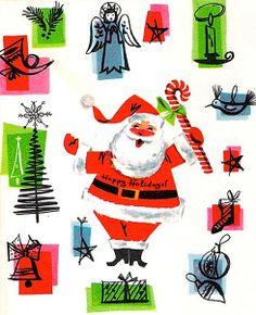 Vintage Mid Century Christmas Card