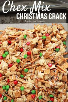 CAUTION: You\'re going to be addicted once you try Chex Mix candy and Ritz Cracker Toffee candy. They\'re both so easy to make and so tasty to eat, they\'ve earned their nickname: Christmas Crack! playdatesparties....