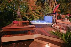 Hot tubs tubs and stones on pinterest for Free standing hot tub deck