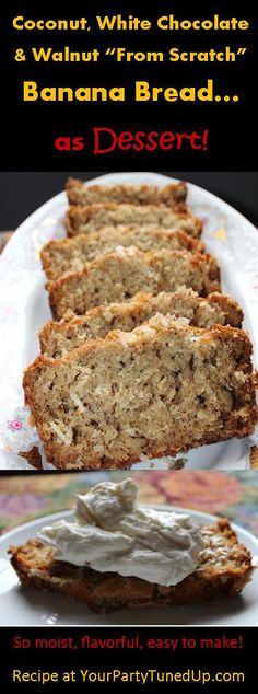 "A great use for three over-ripe bananas!   Based on an old-fashioned banana bread recipe and ""remade"" so it's good enough for dessert.  Also great for a brunch!"