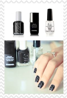 chevron monotone nails with matte & shine finishes