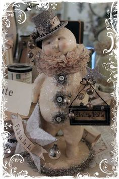 Karen V is just TOO creative! An ugly old snowman from TJ Maxx turned GORGEOUS!!!!! Love that girl...