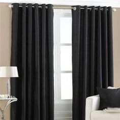 ACHICA | Fiji Pair of 168x183cm Eyelet Curtains, Black
