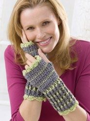 Free pattern:   Keep warm in the cold winter months with these lacy wrist warmers. These are easy crochet mittens that anyone would love to wear.